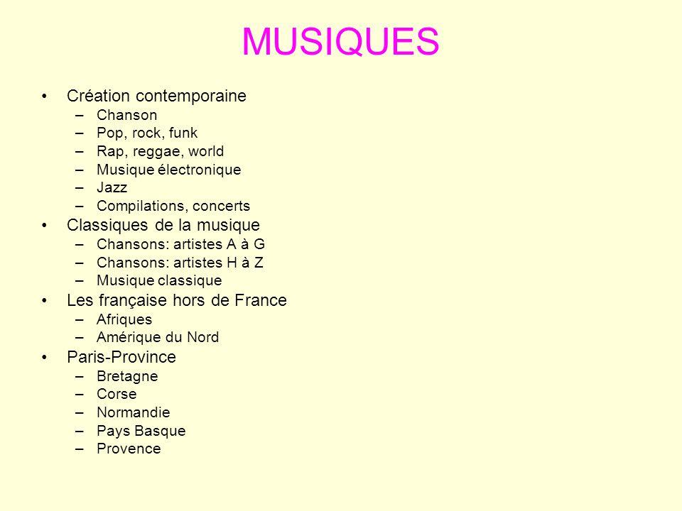 MUSIQUES Création contemporaine –Chanson –Pop, rock, funk –Rap, reggae, world –Musique électronique –Jazz –Compilations, concerts Classiques de la mus