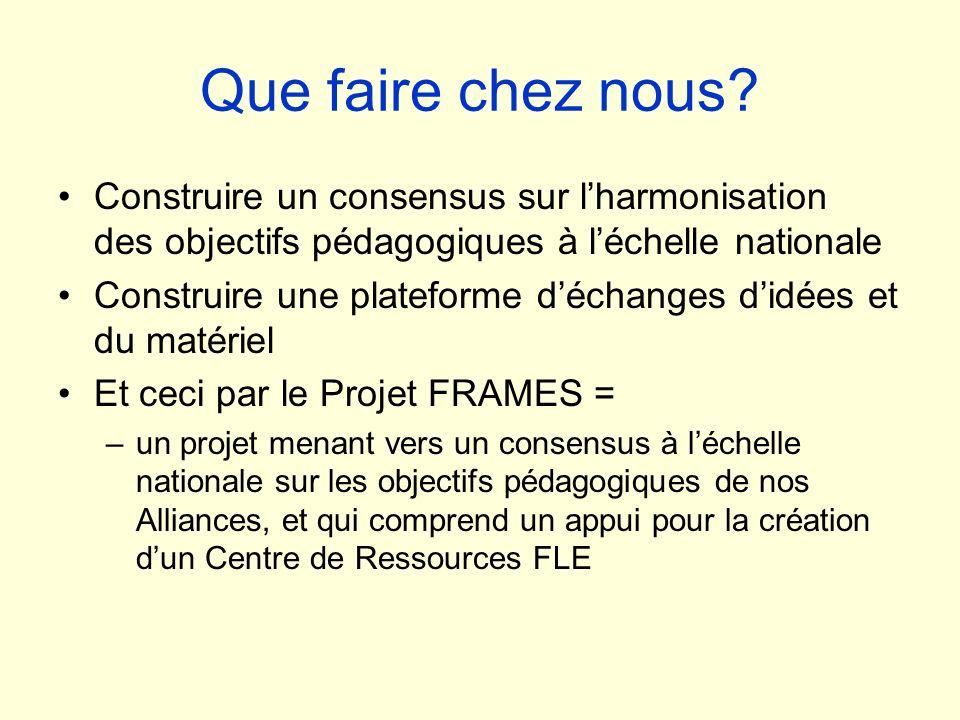 Que faire chez nous? Construire un consensus sur lharmonisation des objectifs pédagogiques à léchelle nationale Construire une plateforme déchanges di
