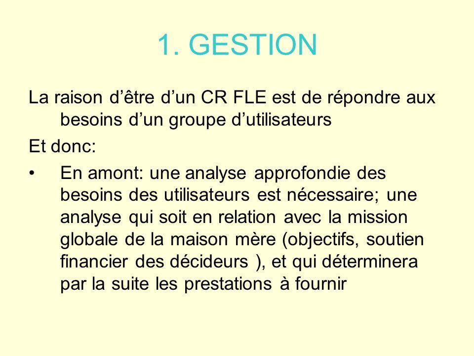 1. GESTION La raison dêtre dun CR FLE est de répondre aux besoins dun groupe dutilisateurs Et donc: En amont: une analyse approfondie des besoins des