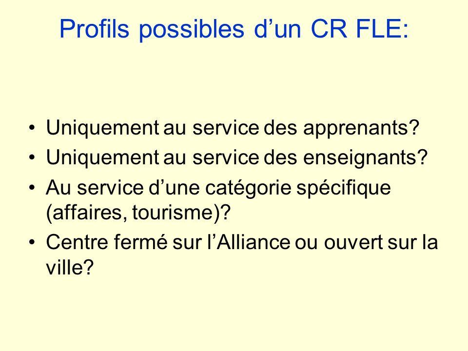 Profils possibles dun CR FLE: Uniquement au service des apprenants? Uniquement au service des enseignants? Au service dune catégorie spécifique (affai