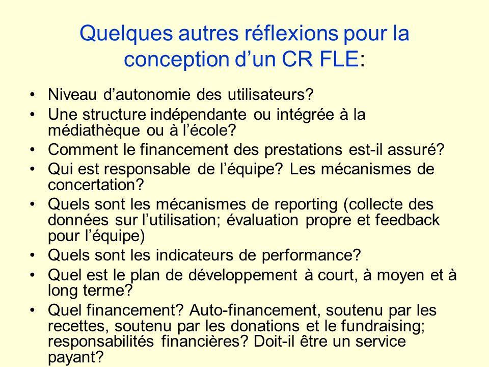 Quelques autres réflexions pour la conception dun CR FLE: Niveau dautonomie des utilisateurs? Une structure indépendante ou intégrée à la médiathèque