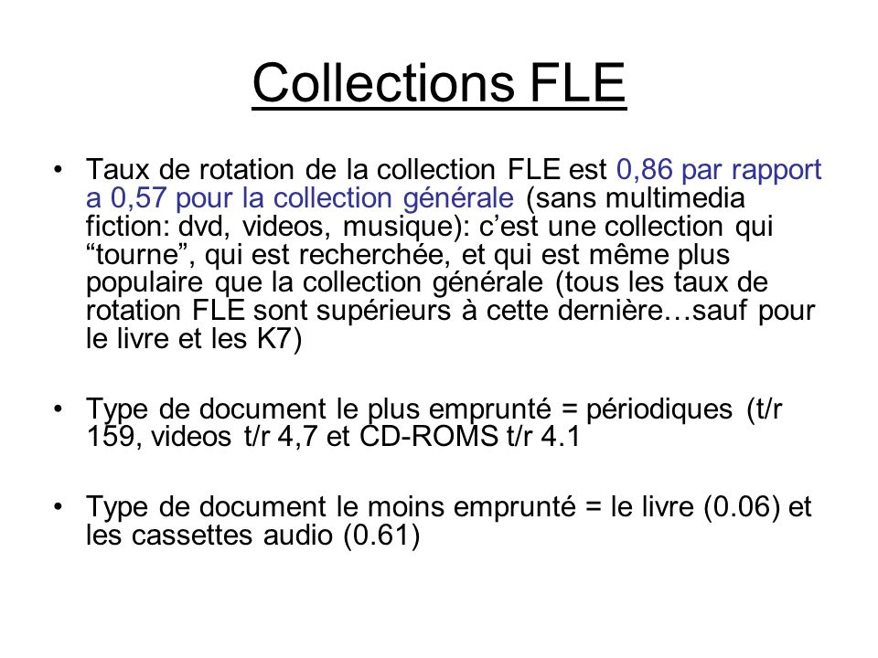 Collections FLE Taux de rotation de la collection FLE est 0,86 par rapport a 0,57 pour la collection générale (sans multimedia fiction: dvd, videos, m