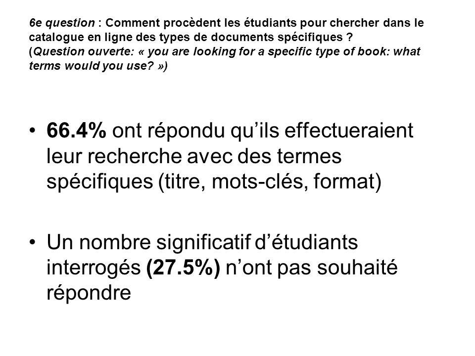 6e question : Comment procèdent les étudiants pour chercher dans le catalogue en ligne des types de documents spécifiques .