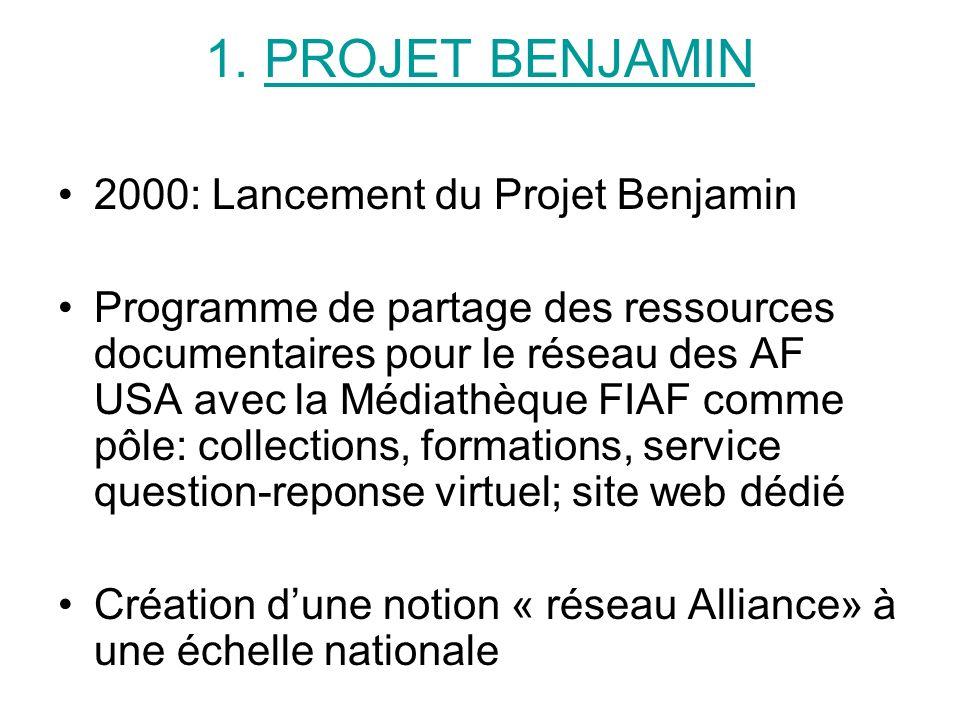 1. PROJET BENJAMIN 2000: Lancement du Projet Benjamin Programme de partage des ressources documentaires pour le réseau des AF USA avec la Médiathèque