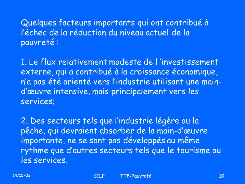 14/10/03 CCLP TTF-Pauvreté10 Quelques facteurs importants qui ont contribué à léchec de la réduction du niveau actuel de la pauvreté : 1. Le flux rela