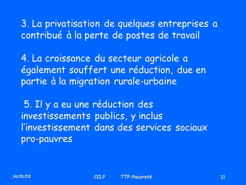 14/10/03 CCLP TTF-Pauvreté11 3. La privatisation de quelques entreprises a contribué à la perte de postes de travail 4. La croissance du secteur agric