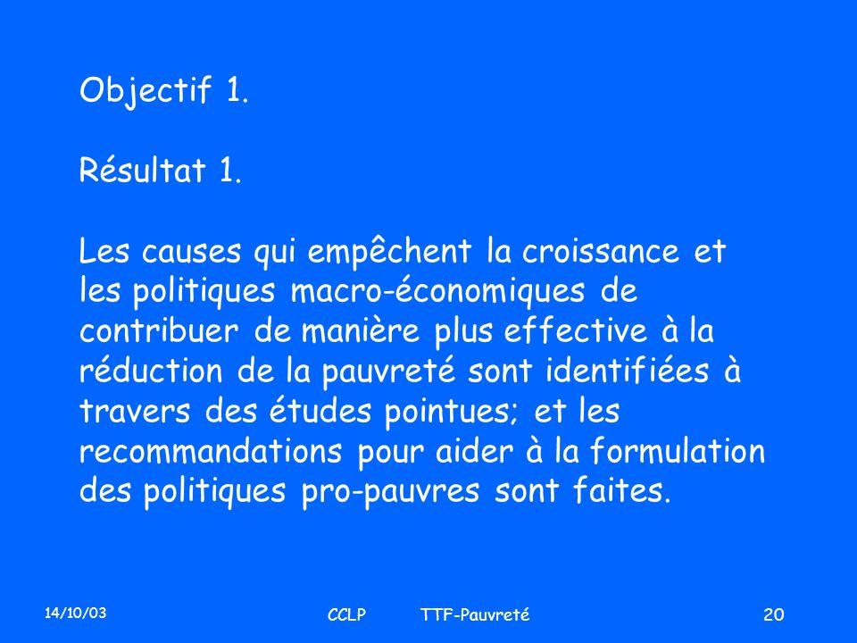 14/10/03 CCLP TTF-Pauvreté20 Objectif 1. Résultat 1. Les causes qui empêchent la croissance et les politiques macro-économiques de contribuer de maniè