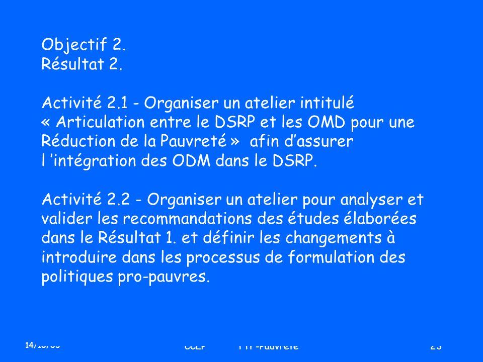 14/10/03 CCLP TTF-Pauvreté23 Objectif 2. Résultat 2. Activité 2.1 - Organiser un atelier intitulé « Articulation entre le DSRP et les OMD pour une Réd