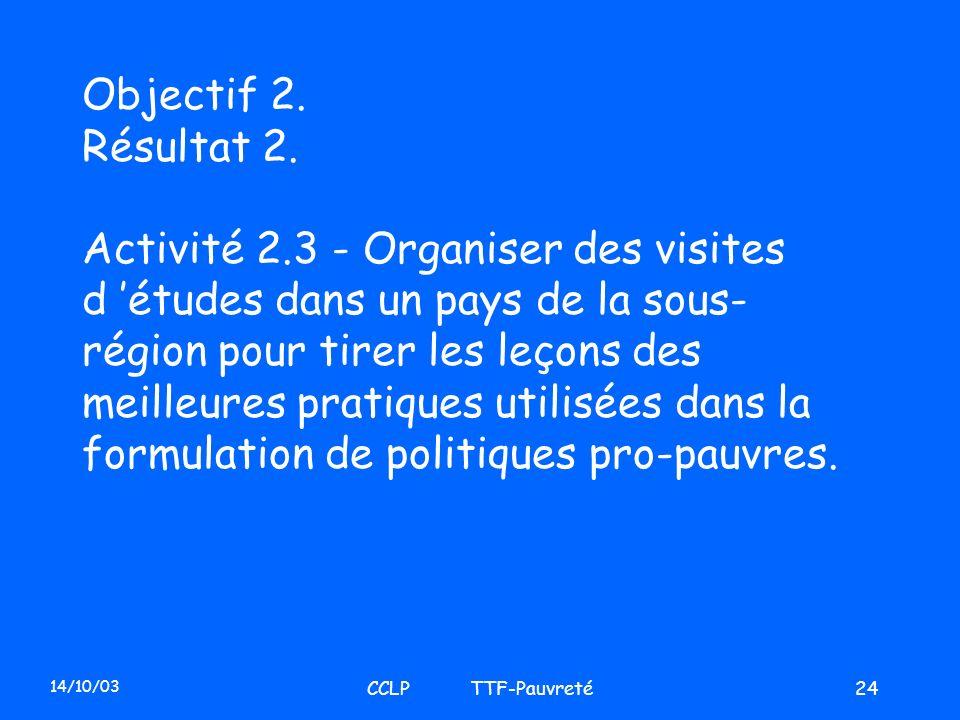 14/10/03 CCLP TTF-Pauvreté24 Objectif 2. Résultat 2. Activité 2.3 - Organiser des visites d études dans un pays de la sous- région pour tirer les leço