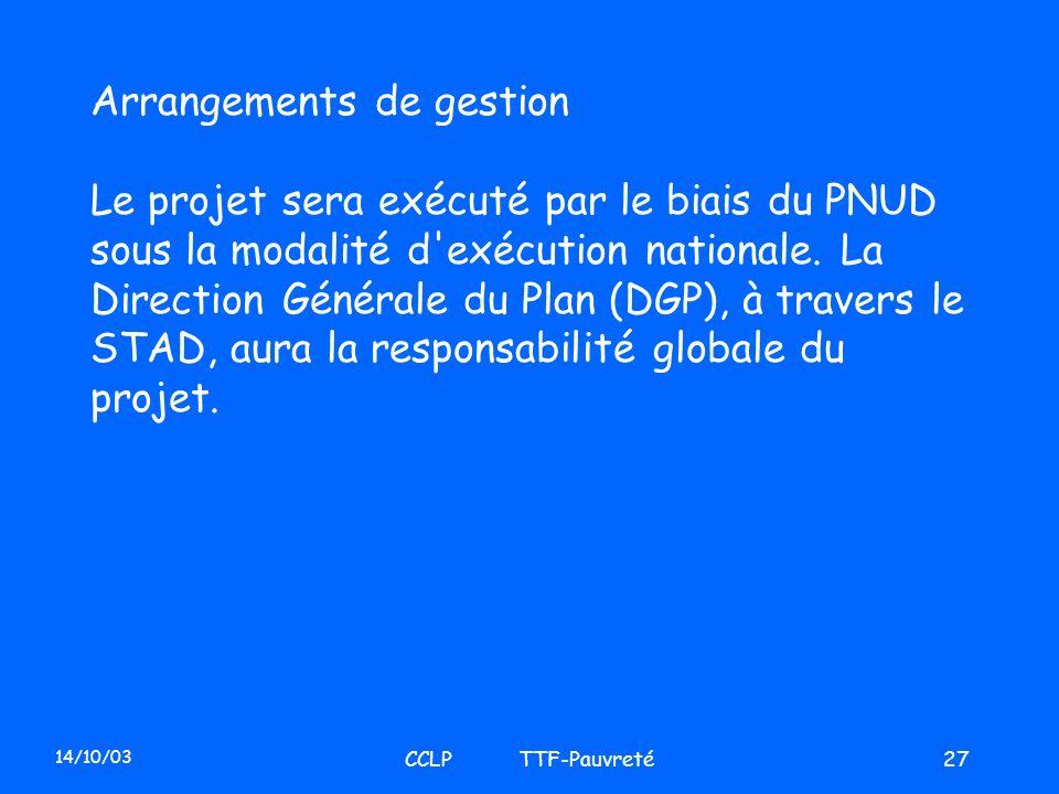 14/10/03 CCLP TTF-Pauvreté27 Arrangements de gestion Le projet sera exécuté par le biais du PNUD sous la modalité d'exécution nationale. La Direction