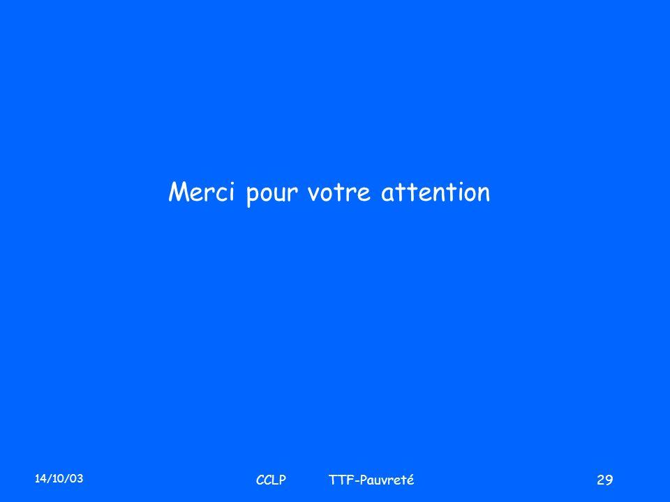 14/10/03 CCLP TTF-Pauvreté29 Merci pour votre attention