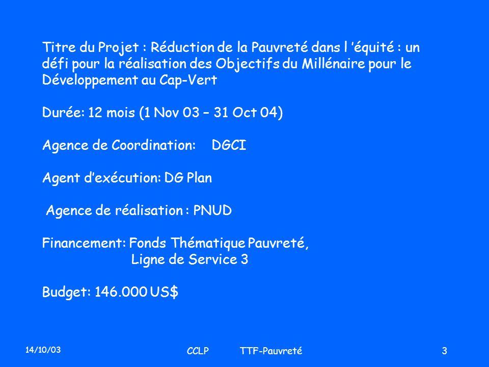 14/10/03 CCLP TTF-Pauvreté3 Titre du Projet : Réduction de la Pauvreté dans l équité : un défi pour la réalisation des Objectifs du Millénaire pour le