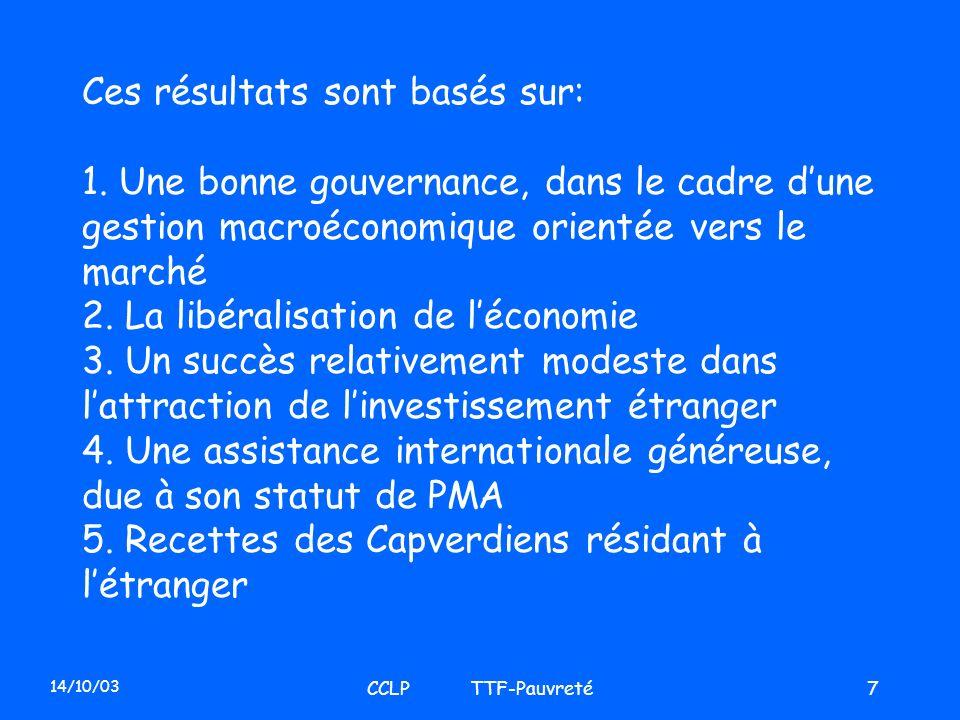 14/10/03 CCLP TTF-Pauvreté7 Ces résultats sont basés sur: 1. Une bonne gouvernance, dans le cadre dune gestion macroéconomique orientée vers le marché