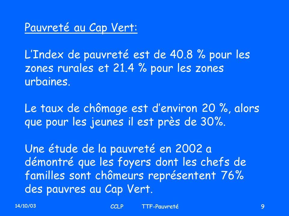 14/10/03 CCLP TTF-Pauvreté9 Pauvreté au Cap Vert: LIndex de pauvreté est de 40.8 % pour les zones rurales et 21.4 % pour les zones urbaines. Le taux d