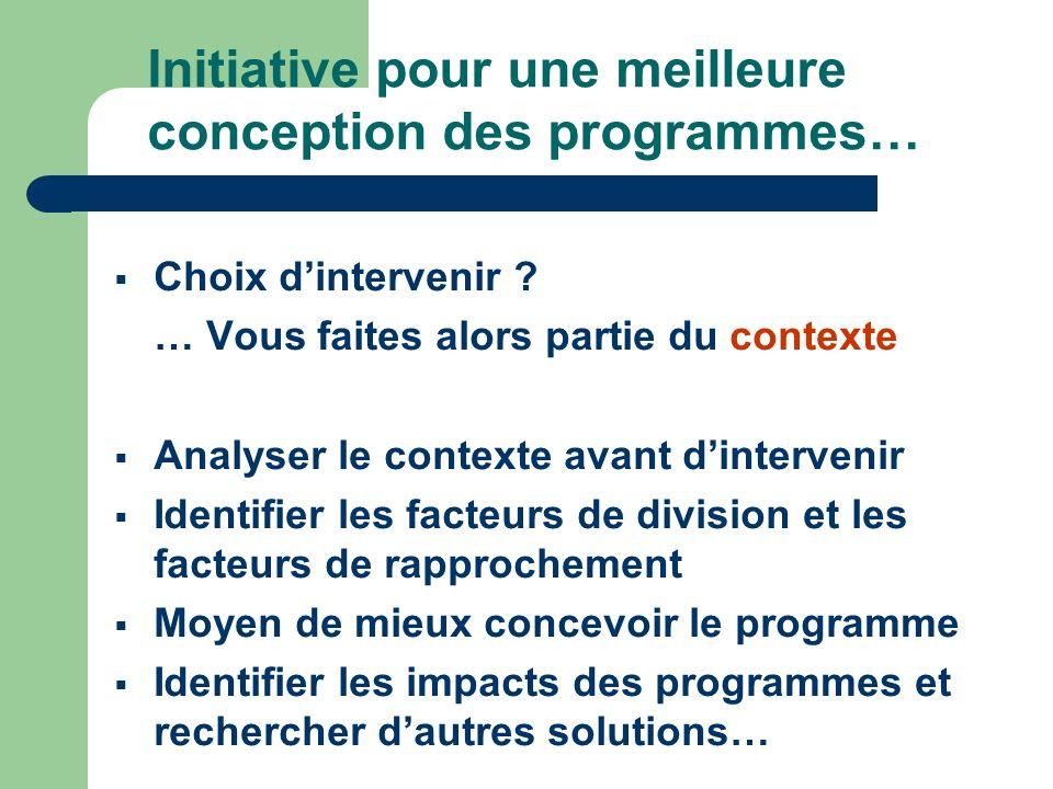 Initiative pour une meilleure conception des programmes… Choix dintervenir .