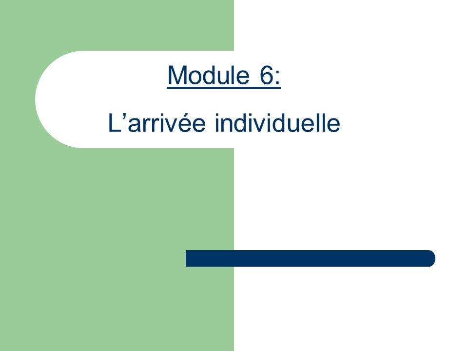 Module 6: Larrivée individuelle