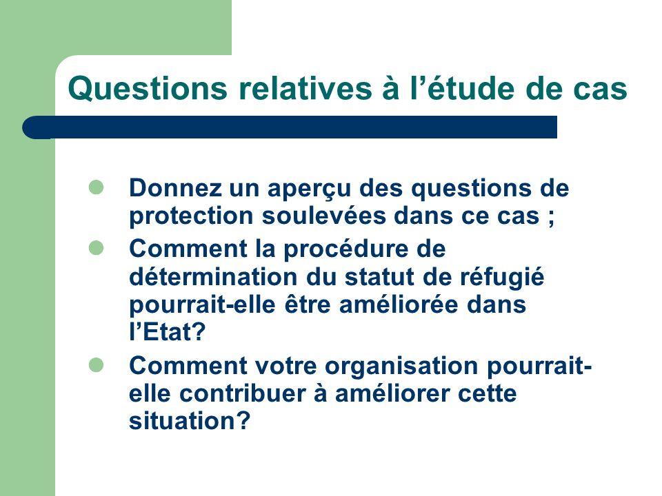 Questions relatives à létude de cas Donnez un aperçu des questions de protection soulevées dans ce cas ; Comment la procédure de détermination du statut de réfugié pourrait-elle être améliorée dans lEtat.
