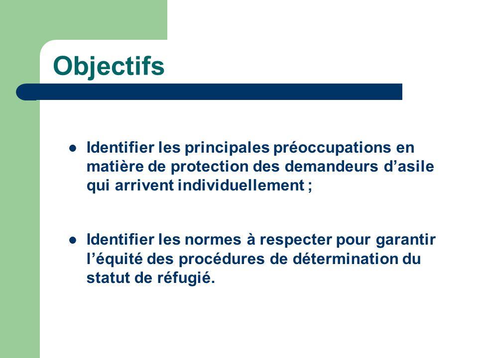 Objectifs Identifier les principales préoccupations en matière de protection des demandeurs dasile qui arrivent individuellement ; Identifier les normes à respecter pour garantir léquité des procédures de détermination du statut de réfugié.
