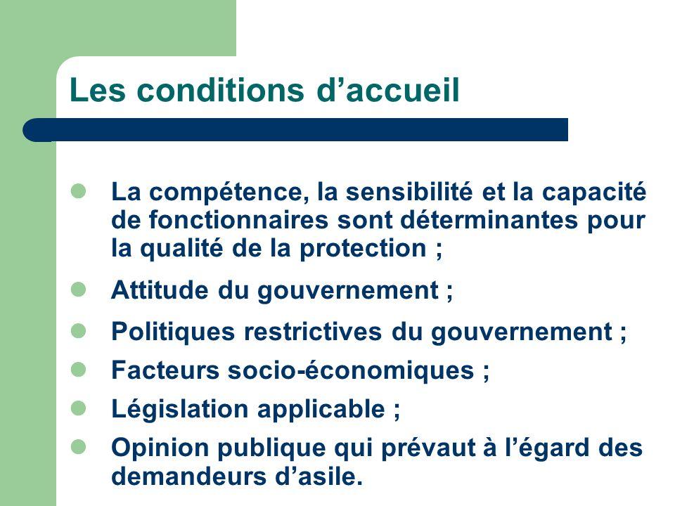 La compétence, la sensibilité et la capacité de fonctionnaires sont déterminantes pour la qualité de la protection ; Attitude du gouvernement ; Politi