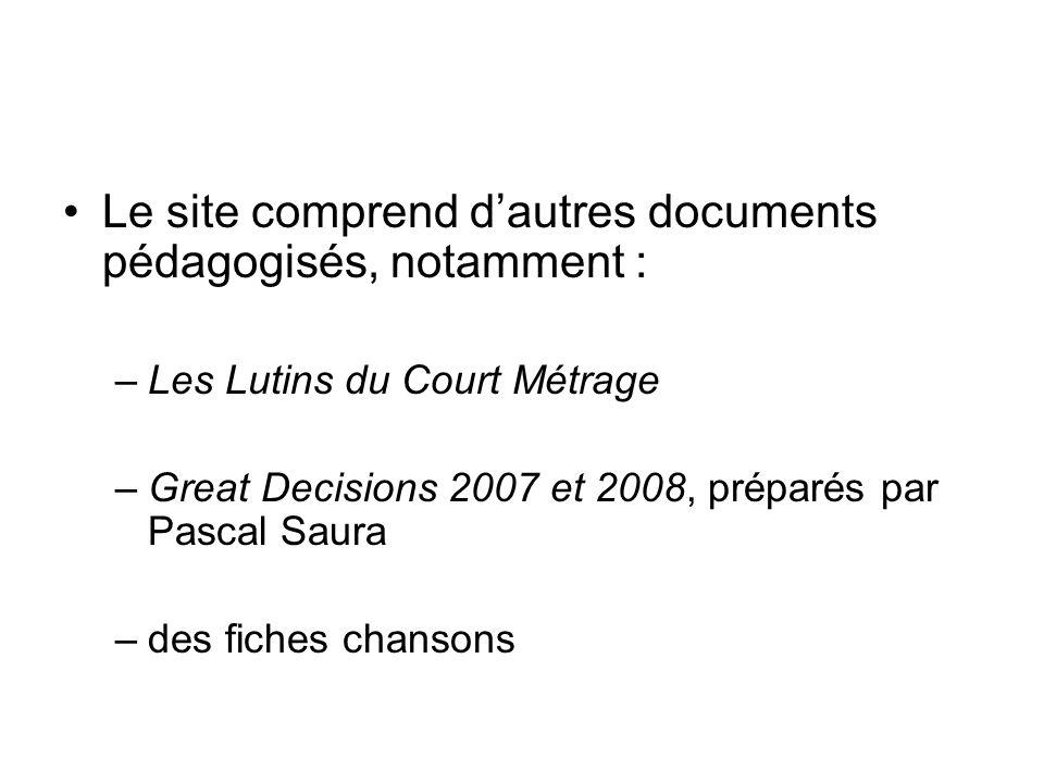 Le site comprend dautres documents pédagogisés, notamment : –Les Lutins du Court Métrage –Great Decisions 2007 et 2008, préparés par Pascal Saura –des