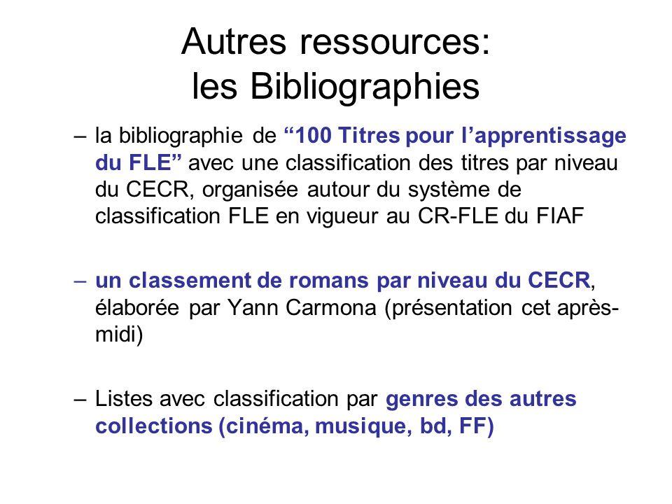 Autres ressources: les Bibliographies –la bibliographie de 100 Titres pour lapprentissage du FLE avec une classification des titres par niveau du CECR