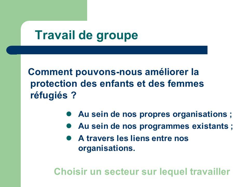 Travail de groupe Comment pouvons-nous améliorer la protection des enfants et des femmes réfugiés ? Au sein de nos propres organisations ; Au sein de