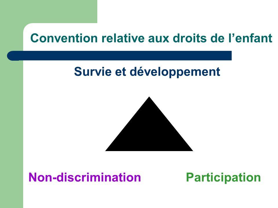 Convention relative aux droits de lenfant ParticipationNon-discrimination Survie et développement