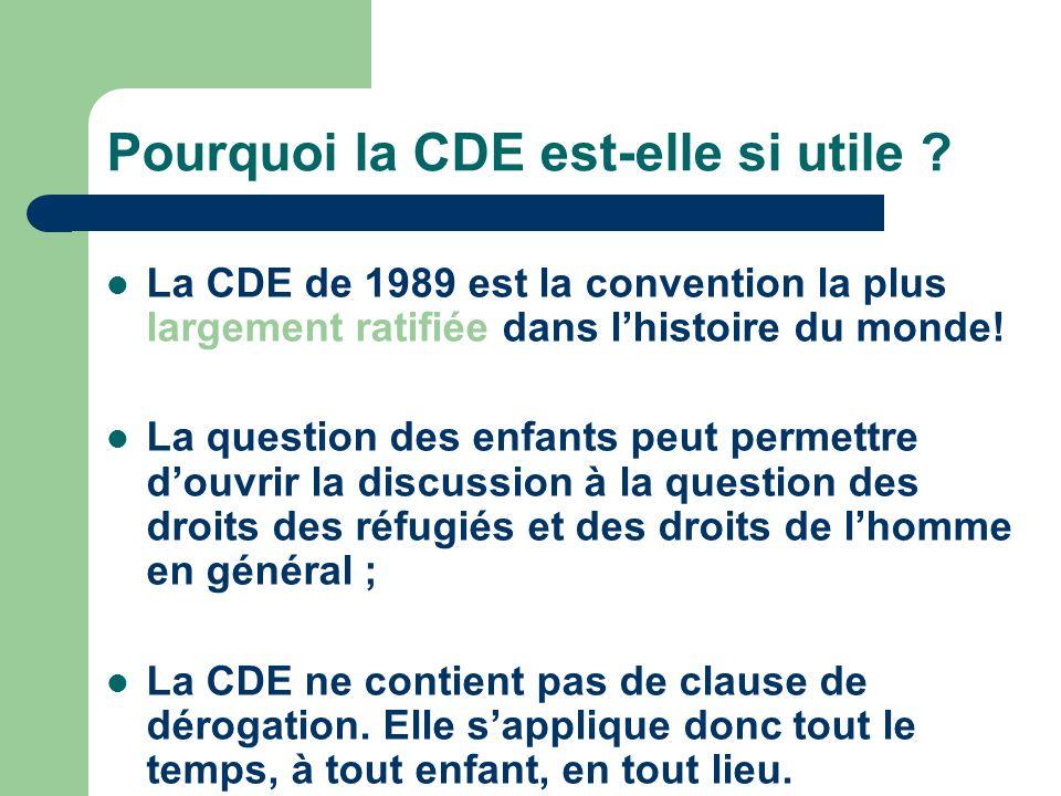 Pourquoi la CDE est-elle si utile ? La CDE de 1989 est la convention la plus largement ratifiée dans lhistoire du monde! La question des enfants peut