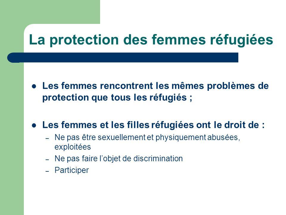 La protection des femmes réfugiées Les femmes rencontrent les mêmes problèmes de protection que tous les réfugiés ; Les femmes et les filles réfugiées ont le droit de : – Ne pas être sexuellement et physiquement abusées, exploitées – Ne pas faire lobjet de discrimination – Participer