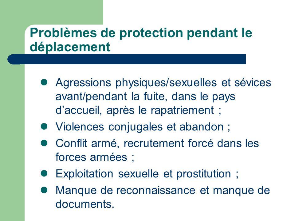 Problèmes de protection pendant le déplacement Agressions physiques/sexuelles et sévices avant/pendant la fuite, dans le pays daccueil, après le rapat