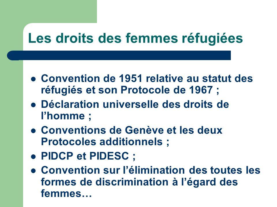Les droits des femmes réfugiées Convention de 1951 relative au statut des réfugiés et son Protocole de 1967 ; Déclaration universelle des droits de lhomme ; Conventions de Genève et les deux Protocoles additionnels ; PIDCP et PIDESC ; Convention sur lélimination des toutes les formes de discrimination à légard des femmes…