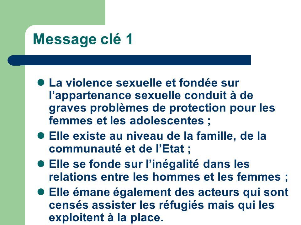 Message clé 1 La violence sexuelle et fondée sur lappartenance sexuelle conduit à de graves problèmes de protection pour les femmes et les adolescente