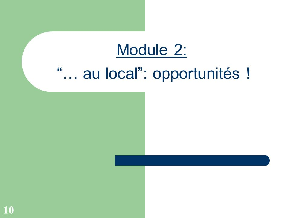 10 Module 2: … au local: opportunités !