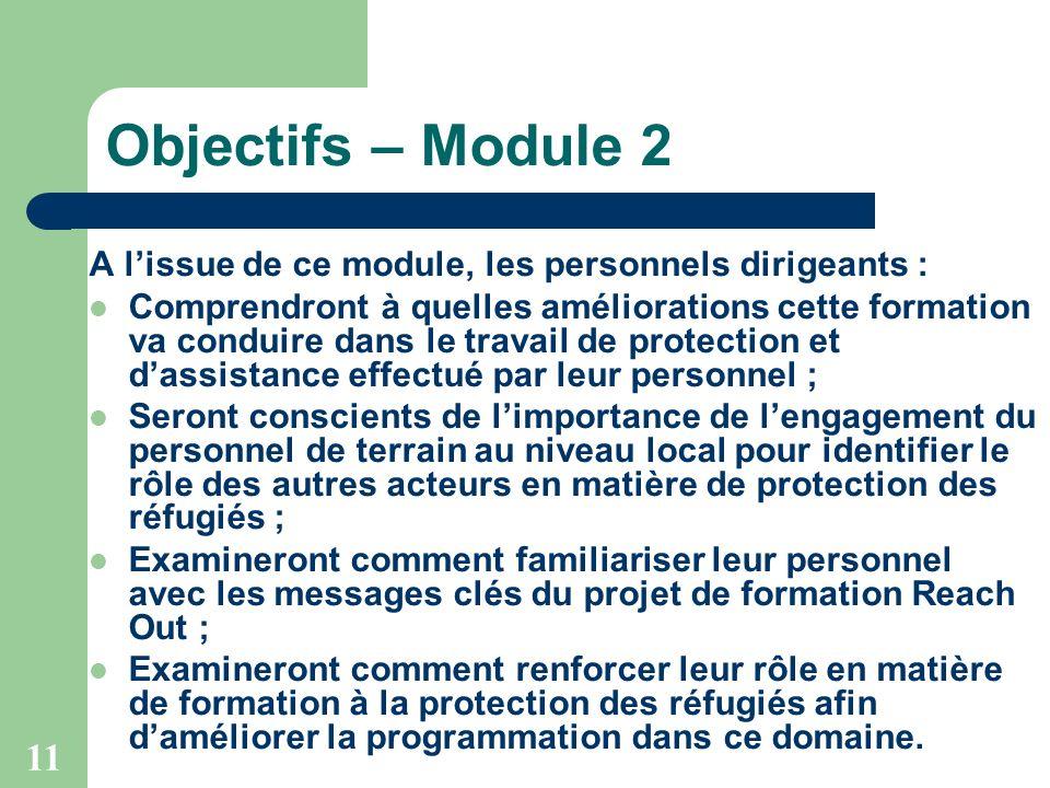11 Objectifs – Module 2 A lissue de ce module, les personnels dirigeants : Comprendront à quelles améliorations cette formation va conduire dans le tr