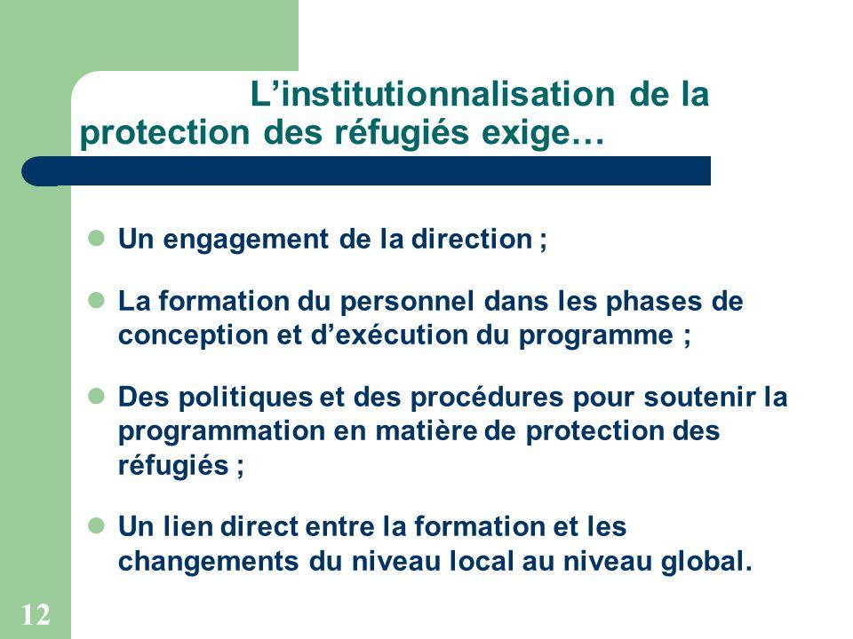 12 Linstitutionnalisation de la protection des réfugiés exige… Un engagement de la direction ; La formation du personnel dans les phases de conception