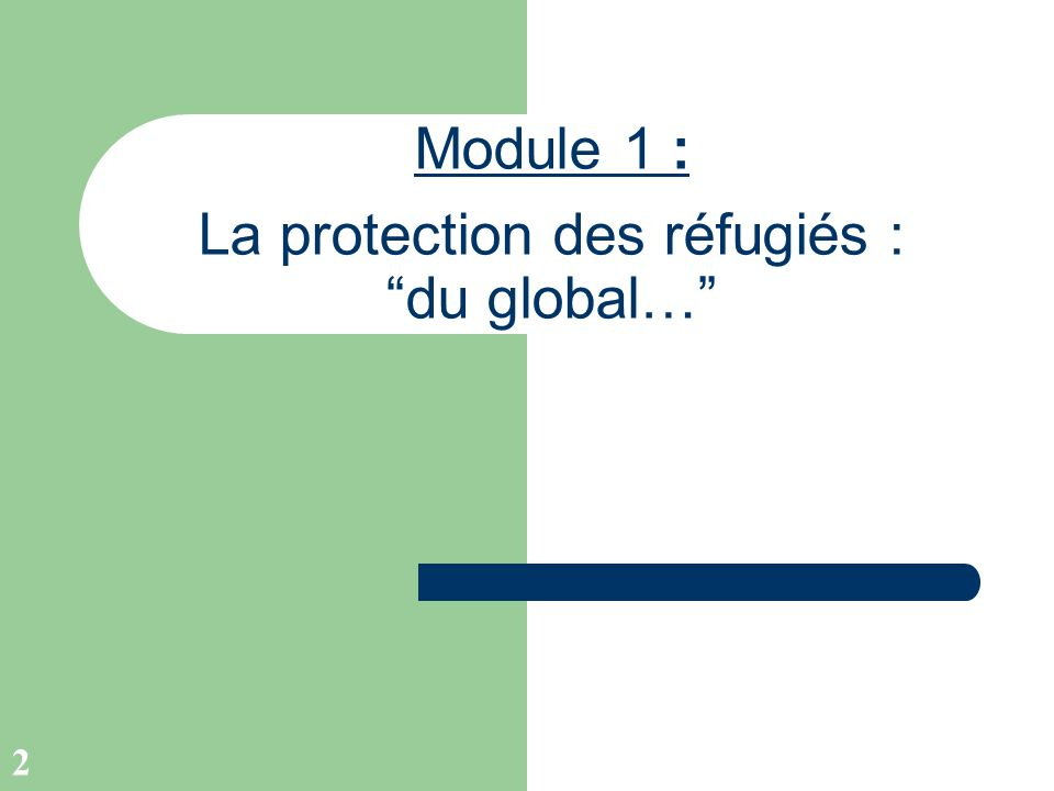 2 Module 1 : La protection des réfugiés : du global…