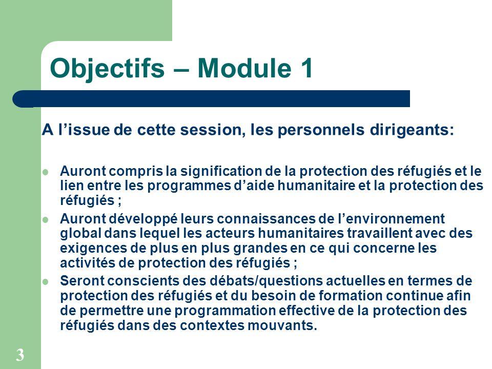3 Objectifs – Module 1 A lissue de cette session, les personnels dirigeants: Auront compris la signification de la protection des réfugiés et le lien
