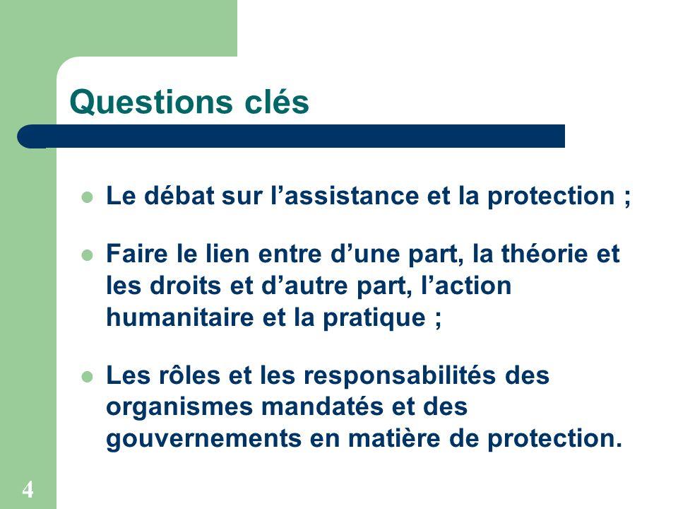 4 Questions clés Le débat sur lassistance et la protection ; Faire le lien entre dune part, la théorie et les droits et dautre part, laction humanitai