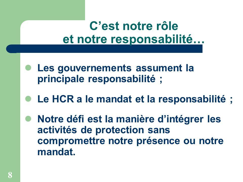 8 Cest notre rôle et notre responsabilité… Les gouvernements assument la principale responsabilité ; Le HCR a le mandat et la responsabilité ; Notre d