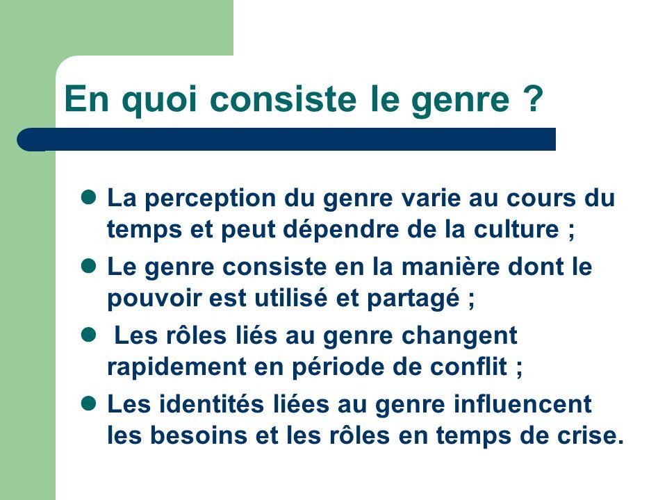 En quoi consiste le genre ? La perception du genre varie au cours du temps et peut dépendre de la culture ; Le genre consiste en la manière dont le po