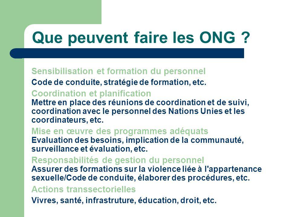 Que peuvent faire les ONG ? Sensibilisation et formation du personnel Code de conduite, stratégie de formation, etc. Coordination et planification Met
