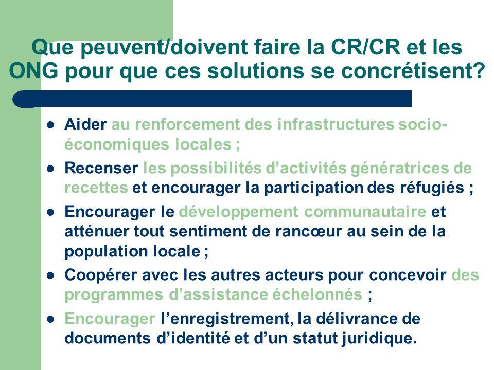 Que peuvent/doivent faire la CR/CR et les ONG pour que ces solutions se concrétisent.