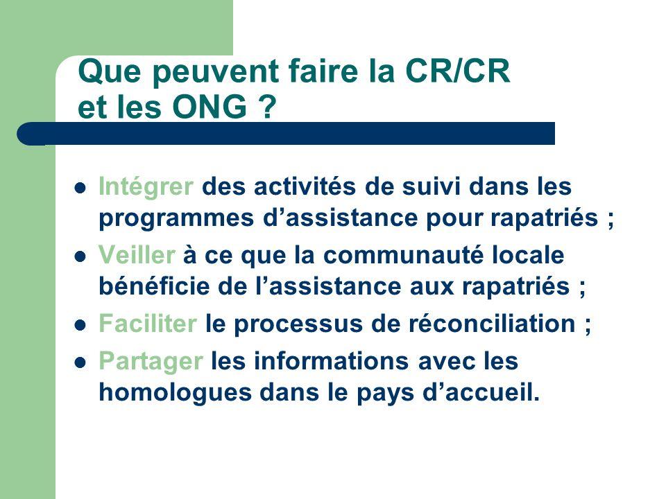 Que peuvent faire la CR/CR et les ONG .