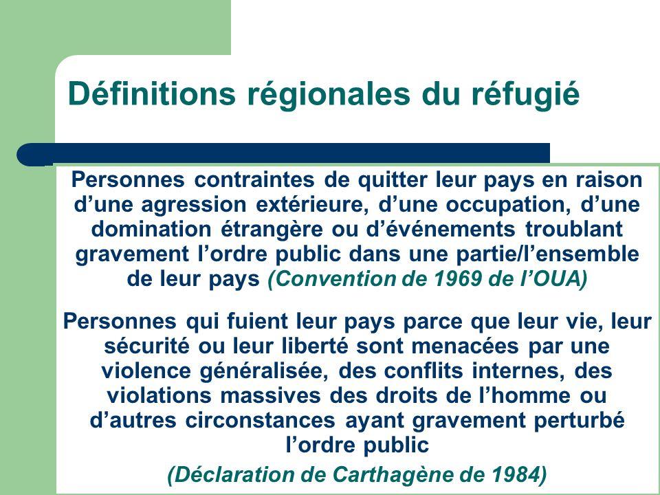 Définitions régionales du réfugié Personnes contraintes de quitter leur pays en raison dune agression extérieure, dune occupation, dune domination étr