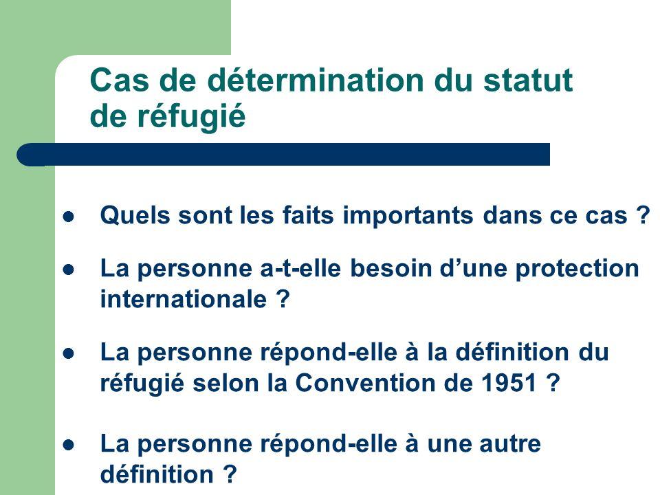 Cas de détermination du statut de réfugié Quels sont les faits importants dans ce cas ? La personne a-t-elle besoin dune protection internationale ? L