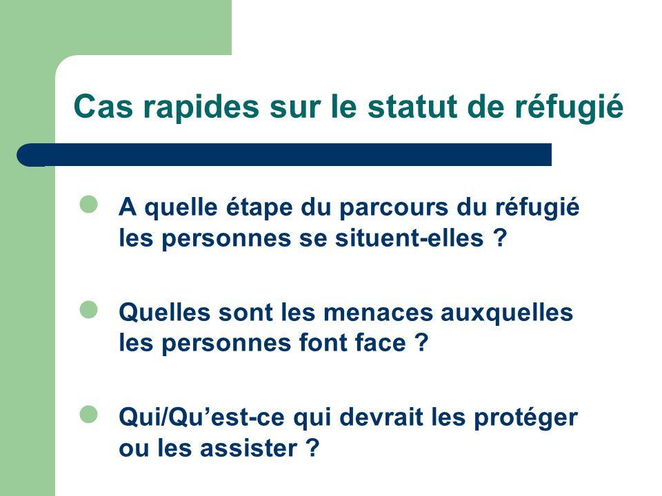 Cas rapides sur le statut de réfugié A quelle étape du parcours du réfugié les personnes se situent-elles ? Quelles sont les menaces auxquelles les pe