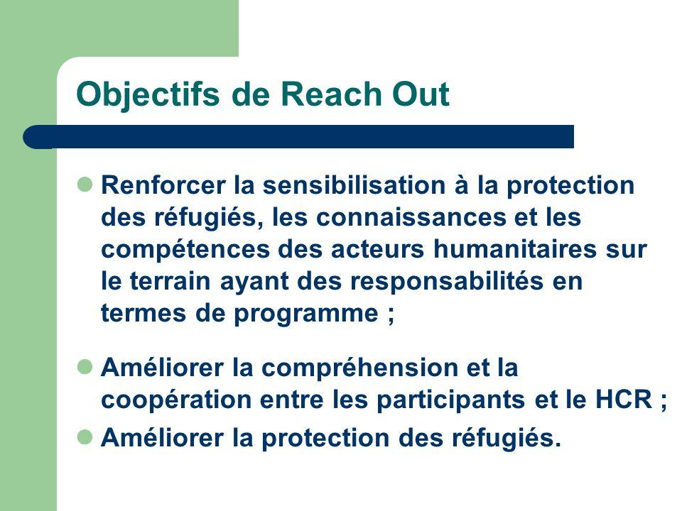 Objectifs de Reach Out Renforcer la sensibilisation à la protection des réfugiés, les connaissances et les compétences des acteurs humanitaires sur le terrain ayant des responsabilités en termes de programme ; Améliorer la compréhension et la coopération entre les participants et le HCR ; Améliorer la protection des réfugiés.