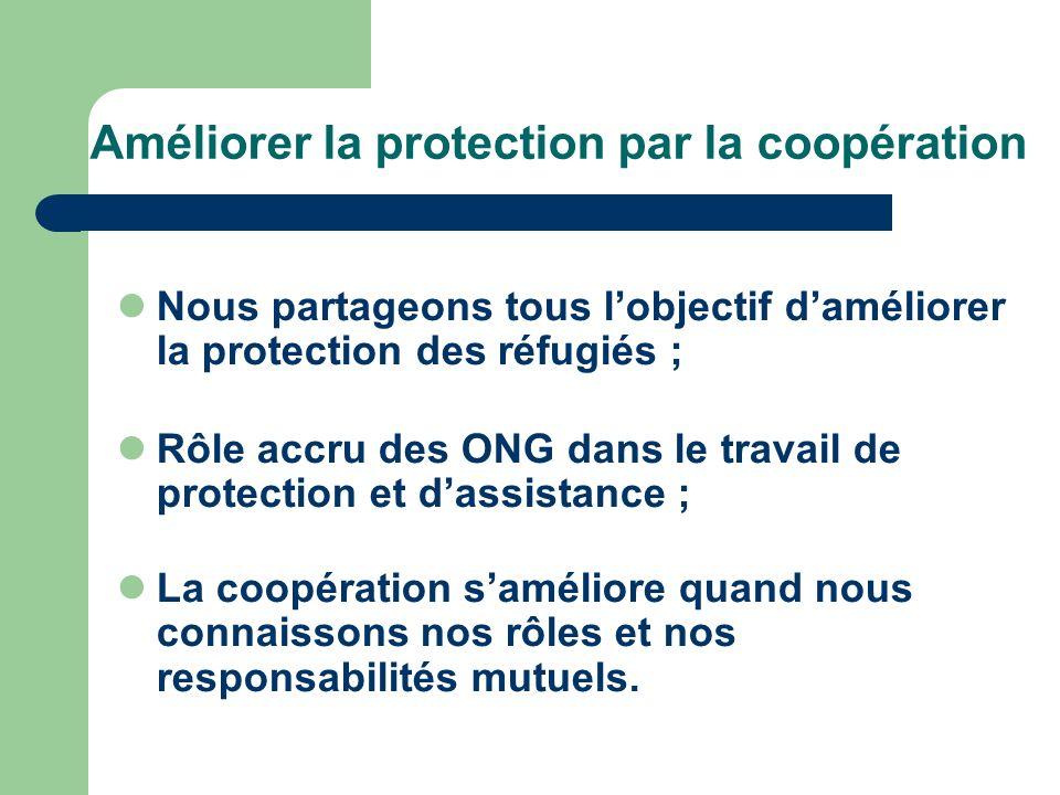 Améliorer la protection par la coopération Nous partageons tous lobjectif daméliorer la protection des réfugiés ; Rôle accru des ONG dans le travail de protection et dassistance ; La coopération saméliore quand nous connaissons nos rôles et nos responsabilités mutuels.