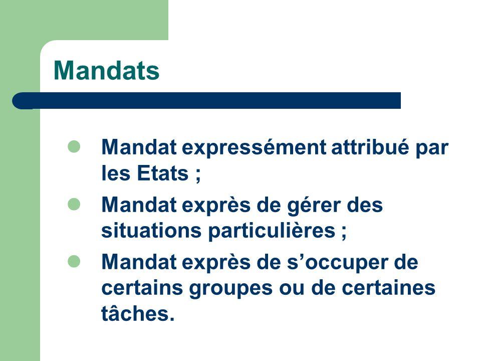 Mandats Mandat expressément attribué par les Etats ; Mandat exprès de gérer des situations particulières ; Mandat exprès de soccuper de certains groupes ou de certaines tâches.