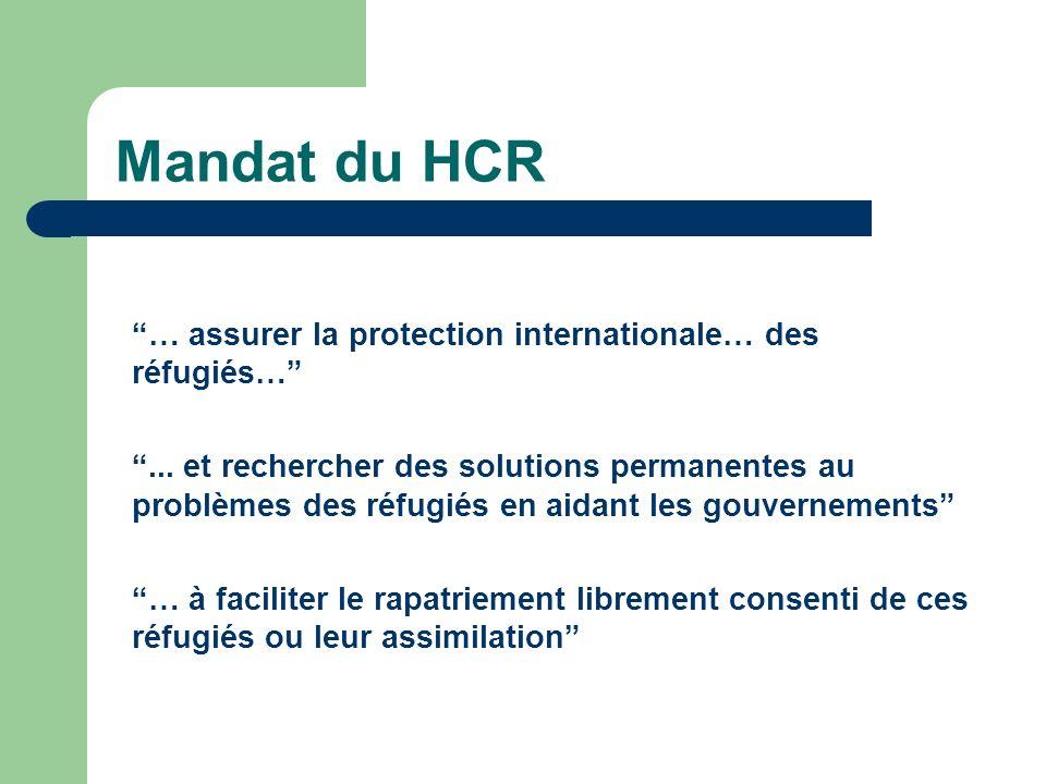 Mandat du HCR … assurer la protection internationale… des réfugiés…...